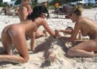Hot girls searching for a dick in the sand